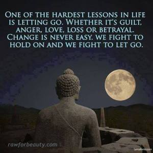"""""""One of the hardest lessons in life is letting go. Whether it's guilt, anger, love, loss, or betrayal, change is never easy. We fight to hold on and we fight to let go."""""""
