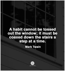 """A habit cannot be tossed out the window; it must be coaxed down the stairs a step at a time."" -Mark Twain"