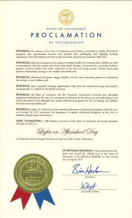 TN Governor Proclaims Oct 26 Lights On Afterschool Day 2017