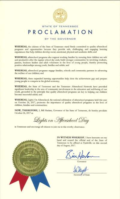 Tennessee Lights On Afterschool 2017 - Proclamation by the Governor