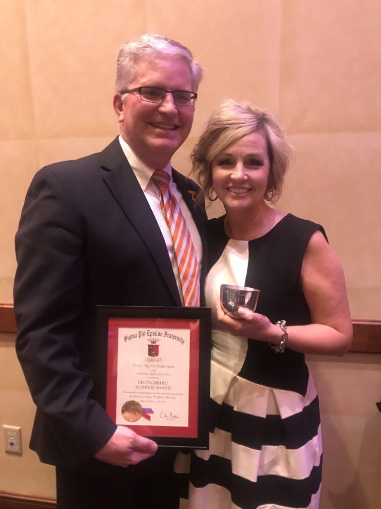 "Mark and Paula Sparkman. Mark accepted the Distinguished Alumnus"" award at the 2019 Atlanta Carlson."