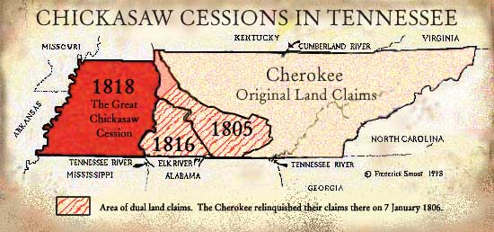 Chickasaw Cessions Map