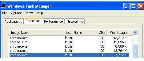 Chrome in Windows task manager