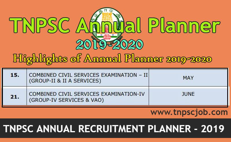 TNPSC Annual Planner 2019 - 2020 Relesed @ www tnpsc gov in