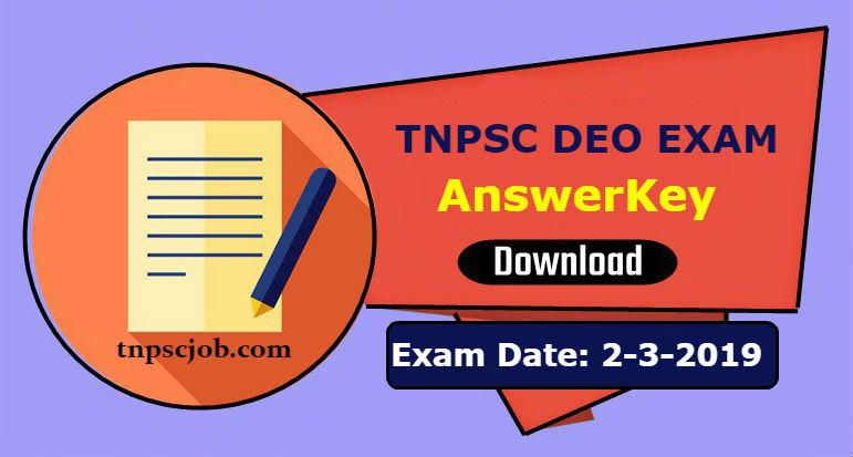 TNPSC DEO Exam Official Answer Key 2019
