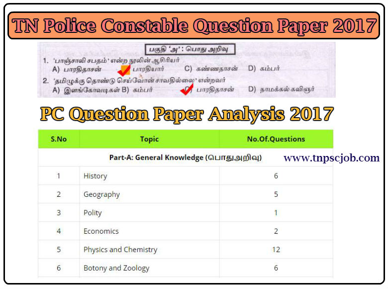 TNUSRB Tamilnadu Police Constable 2017 Question Paper in Pdf
