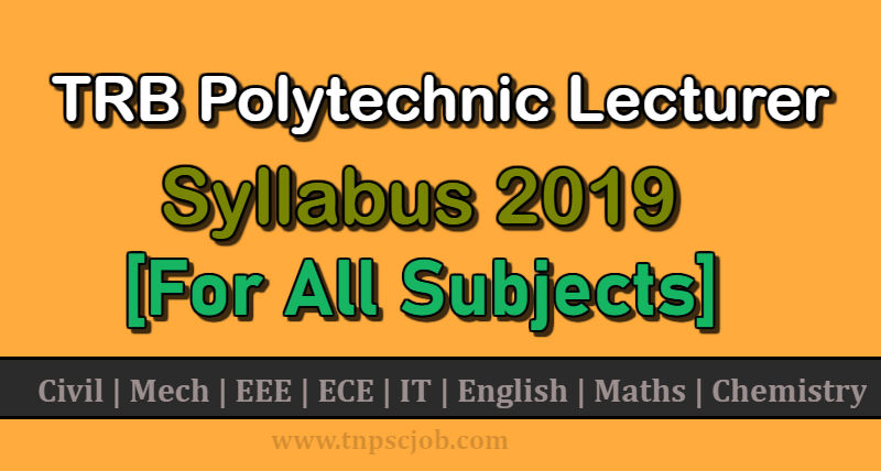 TN TRB Polytechnic Lecturer Syllabus 2019 in Tamil