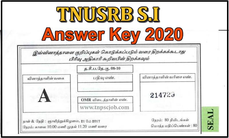 TNUSRB SI Question Paper 2020
