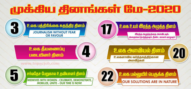 Important Days and Dates of May 2020 in Tamil