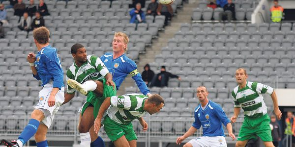 The New Saints TNS in Reykjavik for their Europa League game v Fram Reykjavik of Iceland  pic is Matthew Berkeley's disallowed goal  PB415-2009