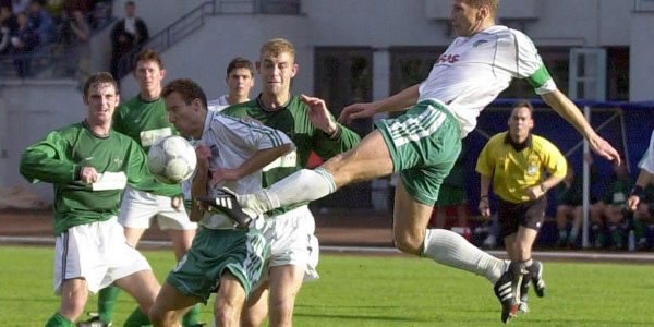 Levadia skipper Igor Prins clears the ball.XXXX