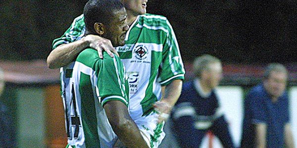 TNS V Amica Wronki (Poland) UEFA Cup at Latham Park, Newtown.    pic is John Toner celebrating the TNS 2nd Goal with Steve Anthrobus.