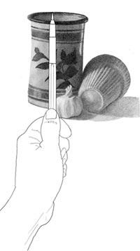 Taking vertical measurement of vase from scene. C. Rosinski