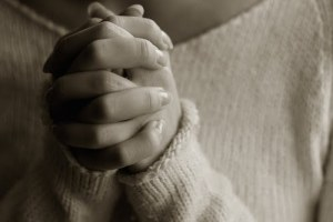 Praying woman hands