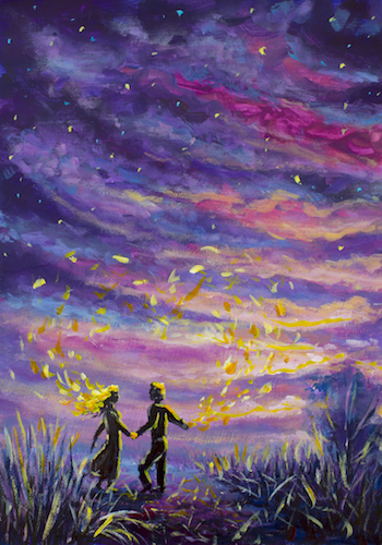original Painting abstract man and woman are dancing on sunset.