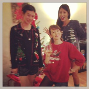 Roomies all decked out in our ugly Christmas Sweaters!