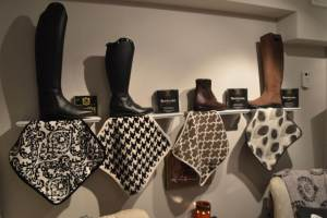 Boot Wall with short and tall boots available.