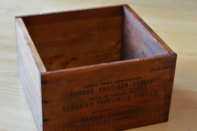 Wooden crate box varnished and restored.