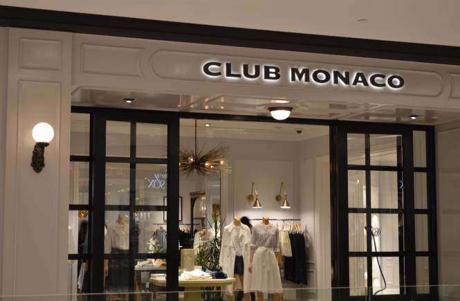 A shot of the entrance of Club Monaco.