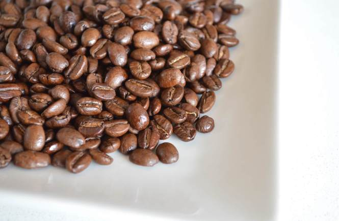 A close up of a handful of the beans from Equator Coffee.