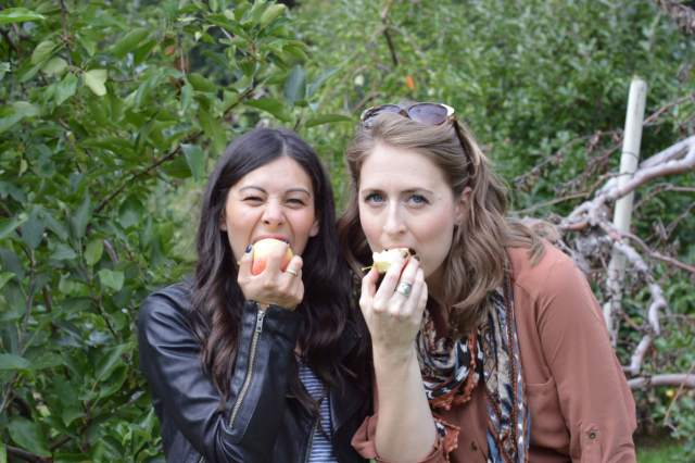 Two friends posing for the camera biting into apples.