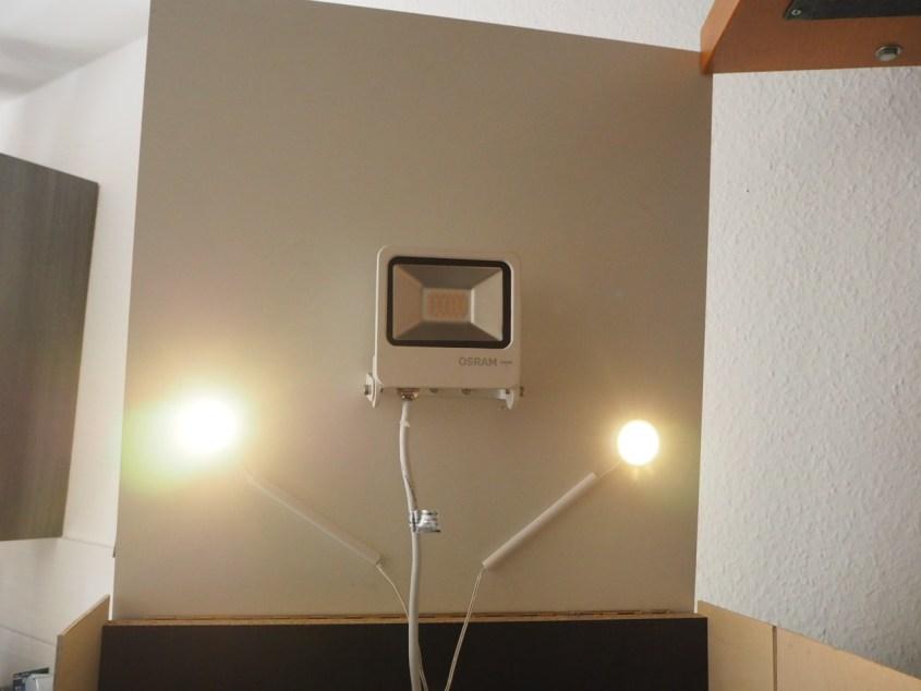Lichtinstallation leuchtet