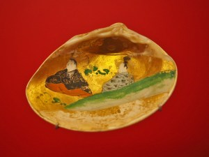 Japanisches Aquarell in einer Muschel