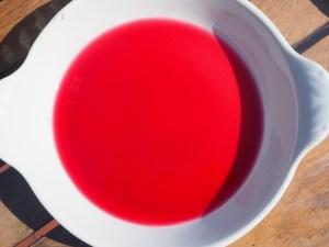 Schale mit intensiv roter Flüssigkeit