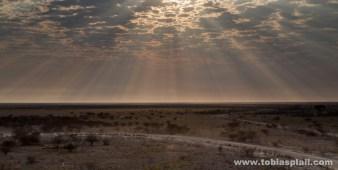 Sunbeams over Okaukuejo