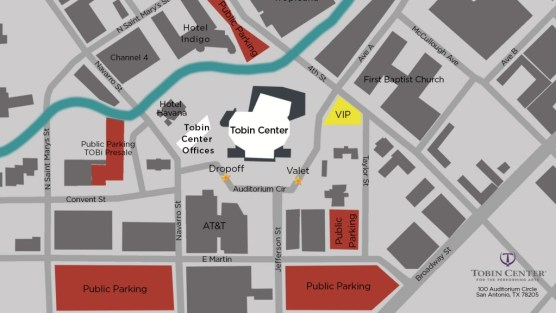 Parking at the Tobin Center Map