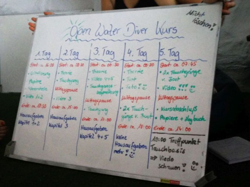 Plan des Tauchkurses