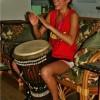 Tori playing the Djembe