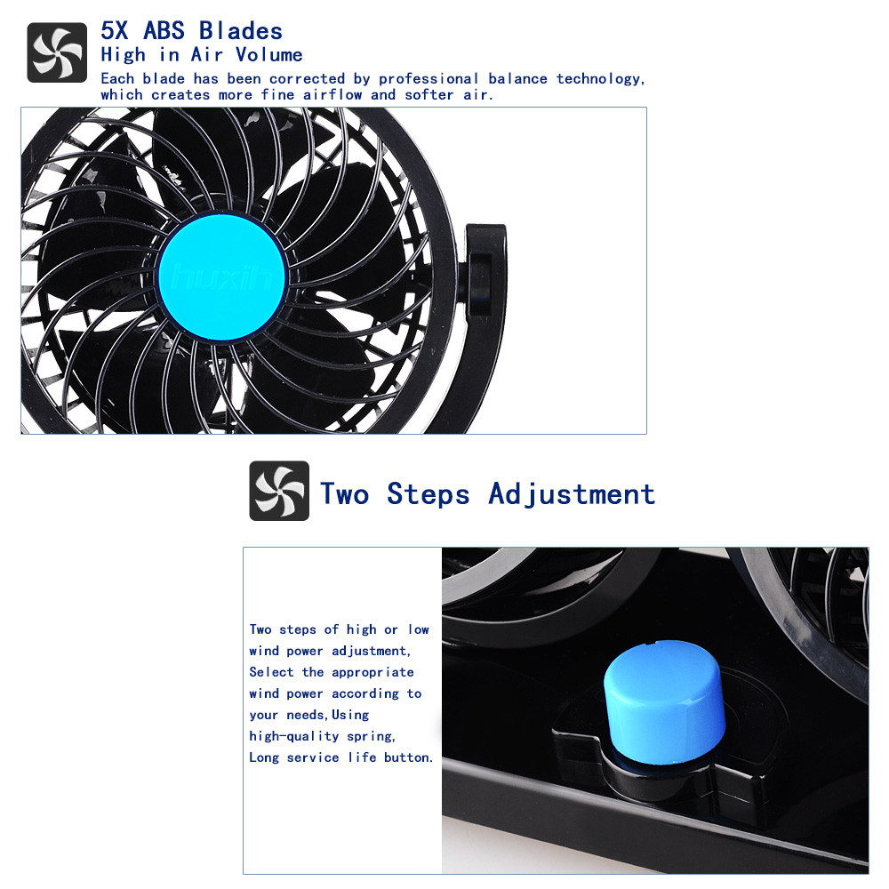Double Headed Vehicle Fan 360 Degree Movable