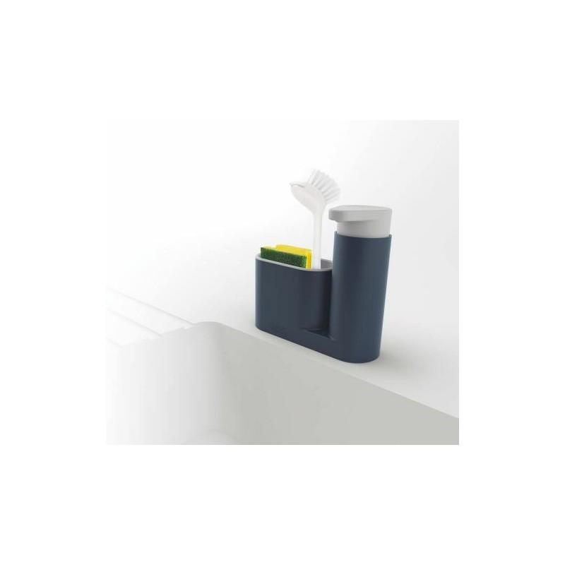 distributeur de savon et porte eponge gris