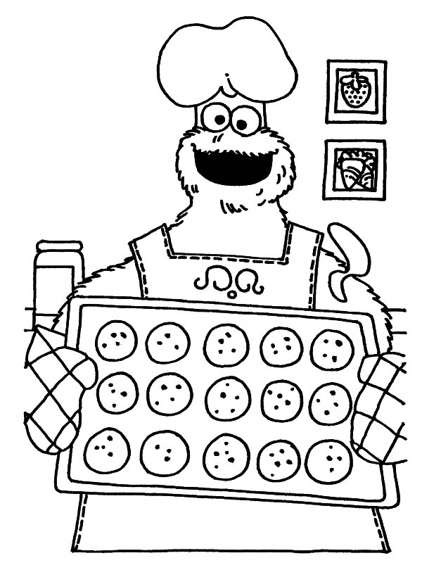 monster cookie baking cookies coloring pages monster