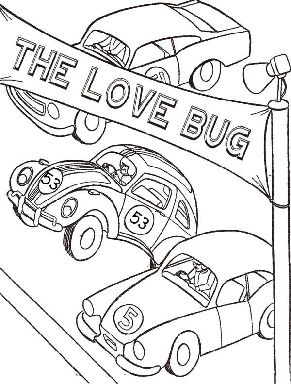 Herbie Love Bug Beetle Car Coloring Pages Best Place To Color