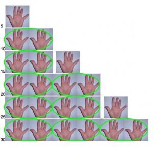 tabellina del 5 con le mani