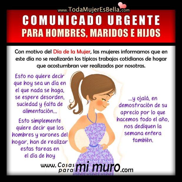 Comunicado urgente por el Día de la Mujer