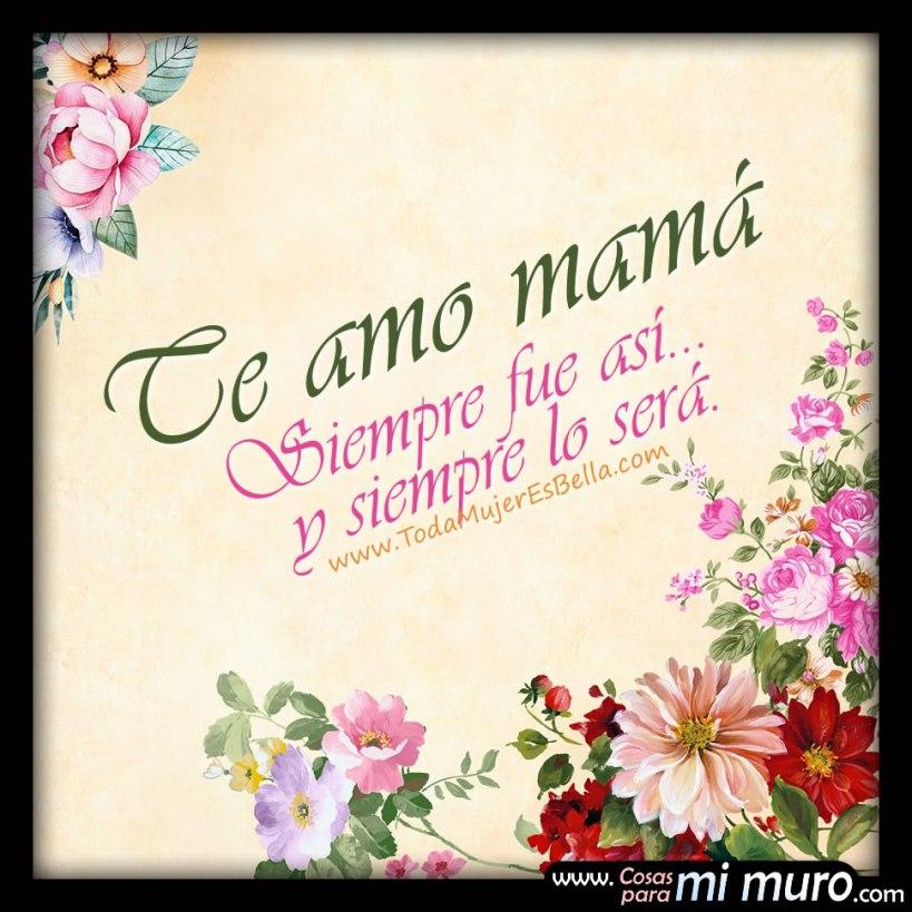 Así fue y así será, mamá... Siempre te amaré. Mereces todo el amor que yo te pueda entregar.