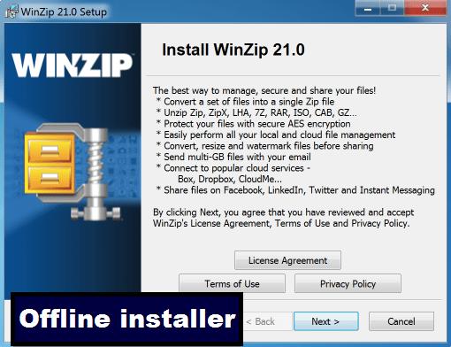 WINZIP offline for windows