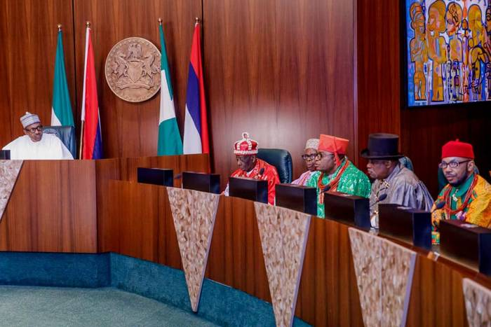 2 President Buhari receives in audience delegation of Ogoni Leaders led by HRM King G.N.K. Gininwa (JP) OFR, Gbenemene Tai Kingdom, President Supreme Council of Ogoni Traditional Rulers in Statehouse on 14th Sep 2018
