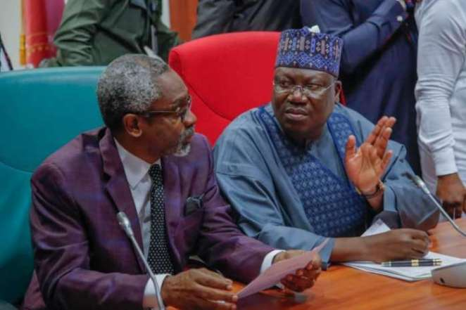 President of the Senate, Ahmad Ibrahim Lawan (right) with the Speaker of House of Representatives, Rt (Hon.) Femi Gbajabiamila, during the visit of members of the Progressive Governors Forum to the National Assembly on Monday, 7th October, 2019