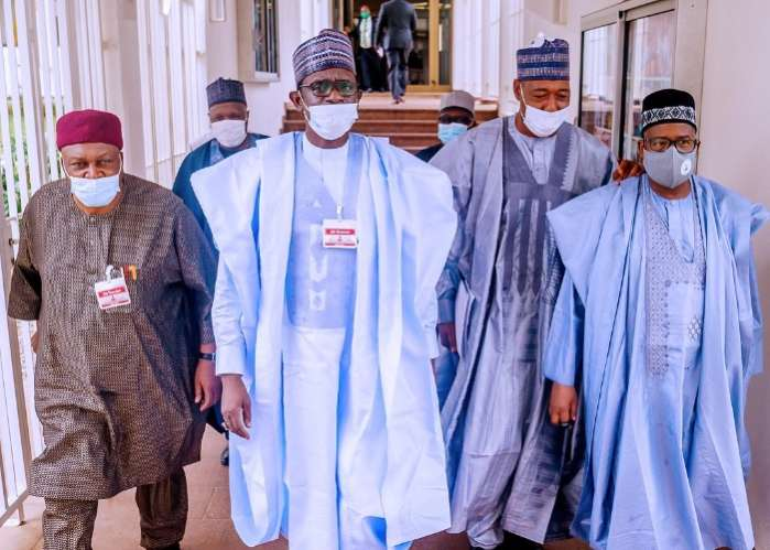 Governors of the Northeastern States arriving at the State House, Abuja for a meeting President Muhammadu Buhari.
