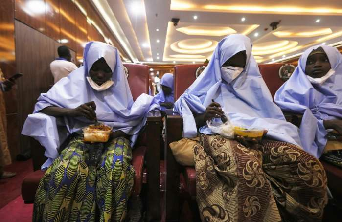 5. Girls who were kidnapped from a boarding school in the northwest Nigerian state of Zamfara, are seen after their release in Zamfara , Nigeria March 2, 2021. REUTERS-Afolabi Sotunde