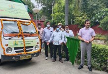 The van was flagged off to make farmers aware under the PM Crop Insurance Scheme.