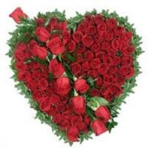 100 red rose heart shape arrangement