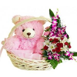 1 Feet Height Teddy Sitting In Flower Basket With Mix Flower Arrangement