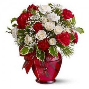 10 White Roses With 10 Red Carnations Arranged In Vase