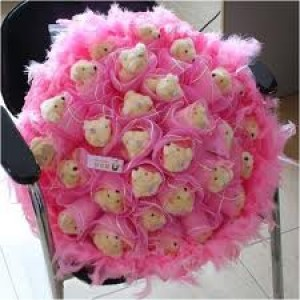 Beautiful Teddy Bear Bouquet Of 30 Teddy Bear With Fur And Tissue Wrapping ..Making It Look Rich And Unique