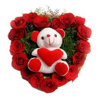17 Red Roses N 6 Inch Teddy Heart